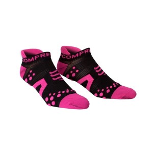 Compressport V2 Low Cut Socks - Black/Pink